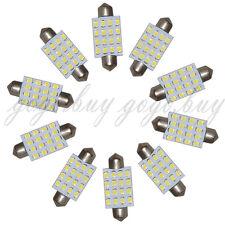 10 x Pure White LED Bulbs 41mm Festoon 16-SMD 3528 Dome Map Cargo Light 24V DC
