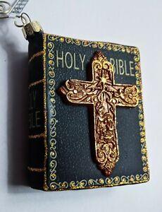 "TT0726  4"" Glass Holy Bible Christmas Ornament w/ Decorative Cross - Black"