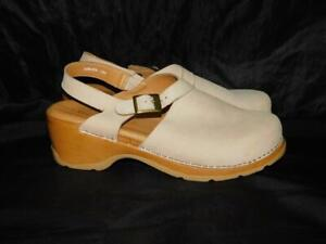 Modellista Italy Size 11 M Beige Brown Clog Shoes Leather Buckle Ankle Strap