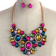 Statement Multi Color Glass Oval & Tear Shape Bead Rhinstone Bib Necklace earing