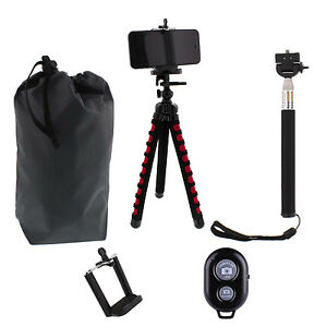 Travel Flexible Tripod Bluetooth Selfie Stick Phone Holder Kit +Pouch,US seller!