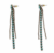 GOLD METAL STUD & DROP EARRINGS WITH GLITTERING EMERALD GREEN DIAMANTES (ZX48)