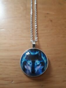 Wolf head spiritual wicca magic pendant necklace gift Northic silver