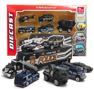 7pcs Police SWAT Helicopter Truck Trailer Vehicles Model Collection Diecast Toy
