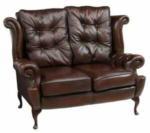 Loveseat, Queen Anne Style Brown Leather Wingback, English, See Matching!