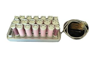 Clairol Hot Rollers 20 Wax Core Neoprene Curlers + 48 Clips Pink R-20 Free FedEx