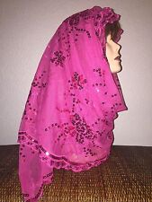 Long Hot Pink Wedding Scarf Hijab Wrap Sheer very pretty and fashionable Last1's