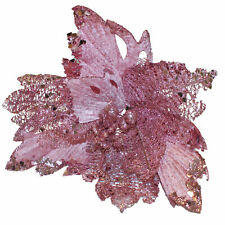 Christmas Glitter Poinsettia Decoration 30cm with Clip - Pink