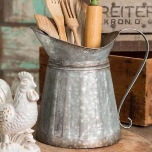 New Farmhouse Primitive Vintage LARGE GALVANIZED MILK PITCHER Utensil Holder