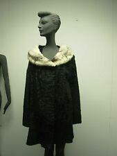 VINTAGE 1950s BAMBERGERS BLACK PERSIAN CURLY LAMB LADIES COAT w WHITE FUR COLLAR