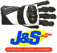 PROBIKER PRX-12 LEATHER MOTORCYCLE GLOVES MOTORBIKE GLOVE RACING RACE WHITE J&S
