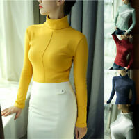 Women Warm Knitted Sweater Turtleneck Pullover Top Slim Fit Long Sleeve Winter