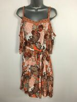 WOMENS WALLIS UK 18 ORANGE PAISLEY PRINT COLD SHOULDER BELTED FLARE SUMMER DRESS