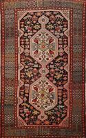 Antique Tribal Geometric Abadeh Hand-knotted Area Rug Wool Oriental Carpet 4'x7'