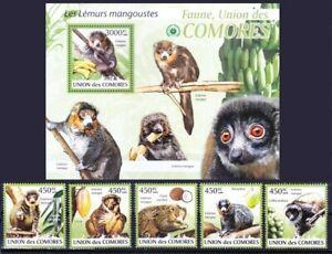 Comoros 2009 MNH MS+5v, Mongoose Lemur (Eulemur mongoz), wild animals