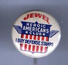 Jewel HEROIC AMERICANS Club WWI Vintage pinback button