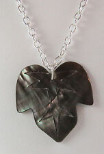 NWOT Iridescent Leaf Shaped Genuine Black Lip Shell on Bright Silver 20 in Chain