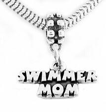 STERLING SILVER DANGLING SWIMMER MOM EUROPEAN BEAD