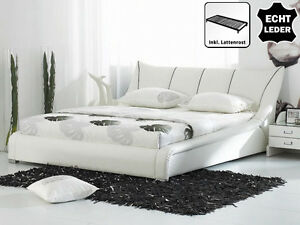 Designer Real Leather Bed Colour White With Slatted Frame Upholstered