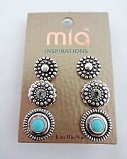 Silver earrings turquoise rhinestone base metal Southwestern 3 pairs studs Mia