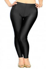 BNWT WOMEN PLUS SIZE LIQUID SHINY FASHION LEGGINGS SOLID BLACK ONE SIZE SSP9003