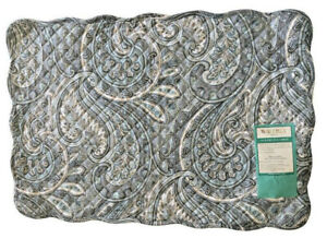 Waverly Quilted Placemats Rhapsody Blue Gray Paisley Set of 4 Reversible