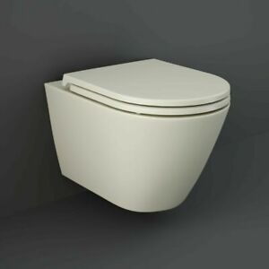 2 X RAK Feeling Bathroom Wall Hung Toilet Pan Rimless Matt Cream NO SEAT