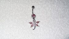 Pink Stone Dragonfly Belly Button Navel Ring Body Jewelry Piercing 14g Sexy