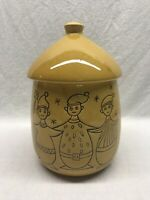 Vintage Ceramic Christmas Cookie Jar With Elves Yellow Glaze