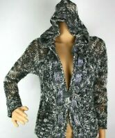 BKE Boutique Sweater Womens XL Knit Cardigan Black Gray Bling The Buckle Wool