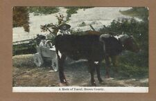 Mode of Travel, Brown County, Indiana, Oxen Team pulling wooden wheel wagon
