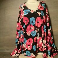 Juicy Couture WOMENS TOP NEW SIZE XXL ROMANTIC POPPIES NWT $44 LONG SLEEVE TIE F
