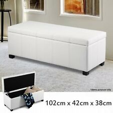 NEW Solid Wood Frame PU Leather Double Seat Rectangular Storage Ottoman - White