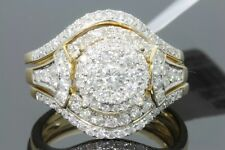 10K YELLOW GOLD 1.28 CARAT WOMENS REAL DIAMOND ENGAGEMENT RING WEDDING BAND SET