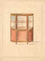 Dessin original drawing - Vitrine style Louis XV- HOUSSEAU -projet Ameublement