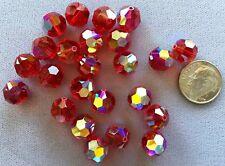 TWENTY-FOUR (24) 10mm SIAM RED AB Round Swarovski Crystals Style 5000
