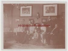 (F14187) Orig. Foto Gruppenbild in der Stube zu Sylvester 1909/10