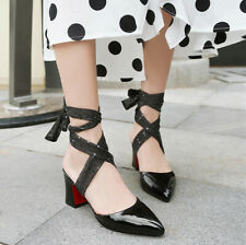 Ankle Strappy Women's High Heels Block Pointed Toe Shoes Slingbacks Sandals NEW
