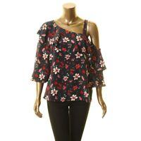 ZOE BY RACHEL ZOE Women's Floral One Shoulder Ruffled Blouse Shirt Top TEDO