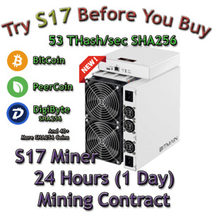 Rent S17 AntMiner. 53 Th Guaranteed 24 Hours Mining Contract Lease SHA256 BTC