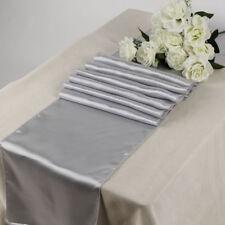 "Satin Table Runner 20 pcs 12""X108"" Wedding venue party decoration - Light Silver"