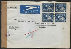 South West Afriica 1950 censored cover to Germany