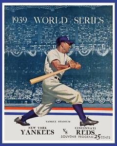 1939 World Series - (Yankees & Reds) Art Poster of Game Program - 8x10 Photo