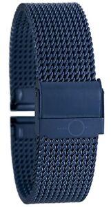 22mm BandOh Edelstahl Milanaise Uhren Armband Blau mit Sicherheitsverschluss