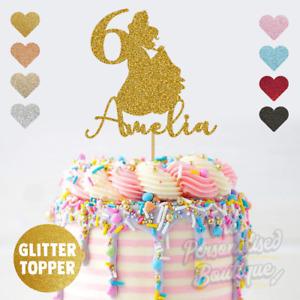 Personalised Custom Glitter Princess Name & Age Girls Birthday Cake Topper