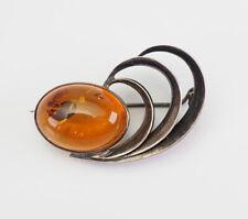 signed Mw pin brooch Poland Elegant vintage sterling silver Baltic amber