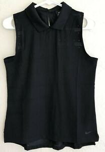 NWT Nike Golf Dri-Fit Black Sleeveless Collared Tank top in S Small MSRP $70!