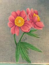 colored pencil drawing peony flowers in vase
