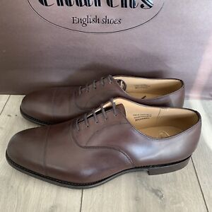 Church's Oxford Toe Cap Brown Calf Leather BALMORAL shoes Size 11G UK Wide Fit