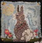 SPRING BUNNY  RUG IN A DAY LINEN PATTERN  PRIMITIVE RUG HOOKING